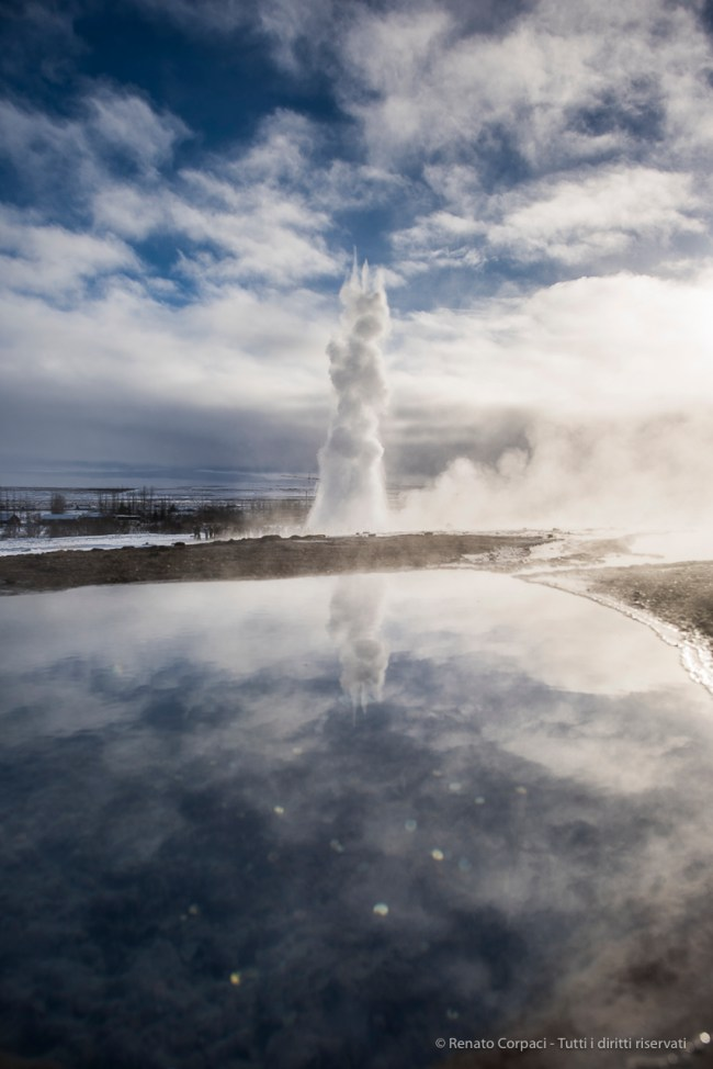 "Strokkur spouts can be spotted from a distance. Nikon D810, 24 mm (24.0 mm ƒ/1.4) 1/1000"" ƒ/5 ISO 64"