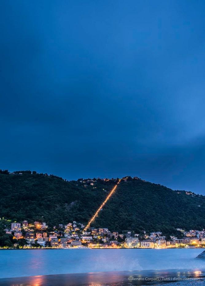 "At twilight, view of the coastline toward Brunate. Nikon D810, 24 mm (24.0 mm ƒ/1.4) 20"" ƒ/8 ISO 64"