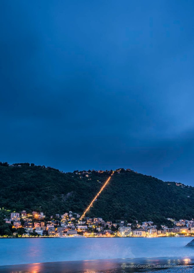 "At twilight, view of the coastline toward Brunate. Nikon D810, 24 mm (24.0 mm ƒ/1.4) 20"" ƒ/8 ISO 64"