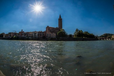 "Sant'Anastasia Belfry from across the river Adige. Nikon D810, 16 mm (16.0 mm ƒ/2.8) 1/200"" ƒ/16 ISO 100"