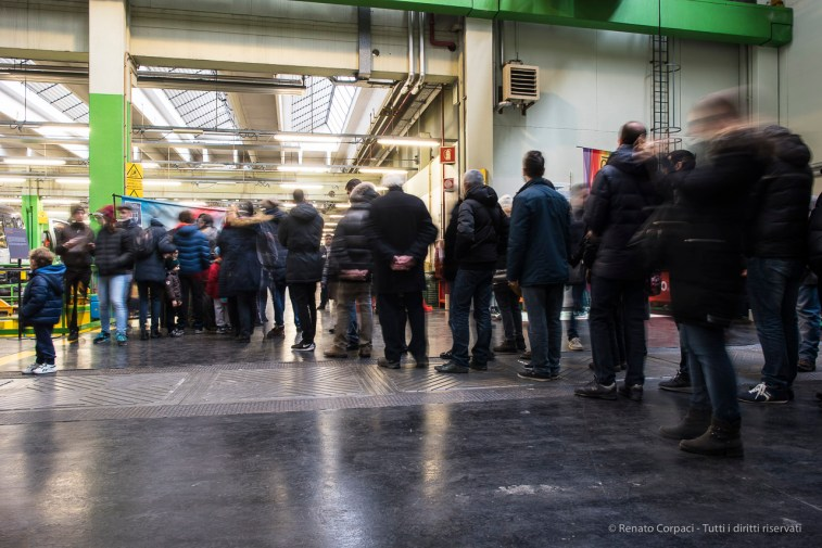 """The line to schedule a test trip on the new Leonardo train, 85. Anniversary from the Foundation of ATM 2016. San Donato Deposit. Nikon D750 24 mm (24.0 mm ƒ/1.4) 0.8"""" ƒ/8 ISO 100"""
