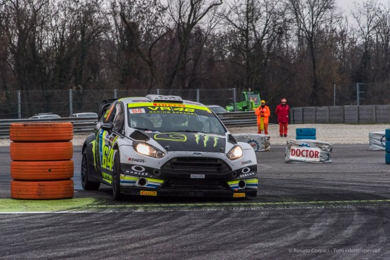 "Alessio ""Uccio"" Salucci and Mitia Dotta on Ford Fiesta WRC 1.6 at the Monster Energy Monza Rally Show 2016. Nikon D810, 120 mm (24-120.0 mm ƒ/4) 1/500"" ƒ/8 ISO 2500"