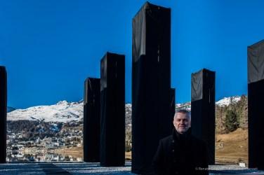"Bernd Franke, composer, minutes before the unveiling of ""The Sky Over Nine Columns"" by Heinz Mack. Sankt Moritz, December 10th 2016. Nikon D810, 24 mm (24.0 mm ƒ/1.4) 1/100"" ƒ/5.0 ISO 64"
