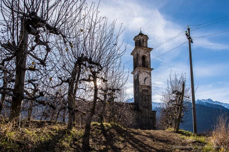 """Somasassa, Valtellina, church of San Gottardo, XVIII Century. Northern view. Nikon D810, 24 mm (24 mm ƒ/1.4) 1/100"""" ƒ/8 ISO 64"""