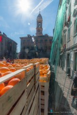 "Oranges deployed in the Piazza di Città before the Battle. Nikon D810, 24 mm (24-120 mm ƒ/4) 1/1000"" ƒ/16 ISO 800"