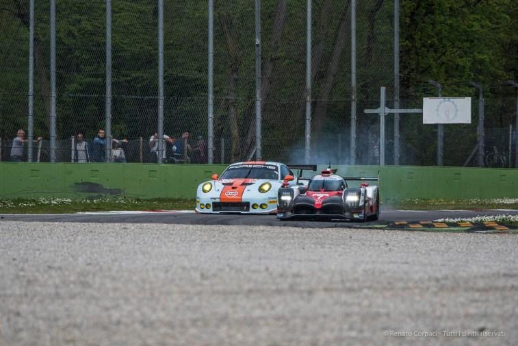 "Kamui Kabayashi testing the Toyota TS050 brakes while taking over Michael Wainwright's Porsche 911 RSR (991) entering the Ascari Chicane. Nikon D750, 400 mm (80-400.0 mm ƒ/4.5-5.6) 1/1250"" ƒ/6.3 ISO 200"