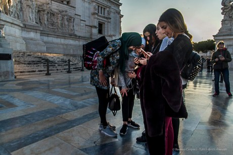 A multi-cultural party on the Vittoriano in Piazza Venezia. Nikon D810, 24 mm (24-120.0 mm ƒ/4) 1/160 ƒ/13 ISO 450