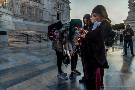 A multi-cultural party on the Vittoriano in Piazza Venezia. Nikon D810, 24 mm (24-120.0 mm ƒ/4) 1/160 ƒ/13 ISO 450
