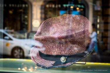 A hat in an expensive boutique in the center of Milano during the Design Week.