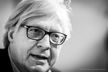 Vittorio Sgarbi, art critic, art historian, politician, cultural commentator and television personality. Milano, February 2019. Nikon D800 85 mm (85 mm ƒ/1.4) 1/125 ƒ/1.4 ISO 1250