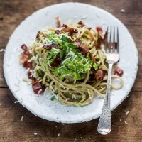 Skinny Carbonara from {Everyday Super Food by Jamie Oliver}