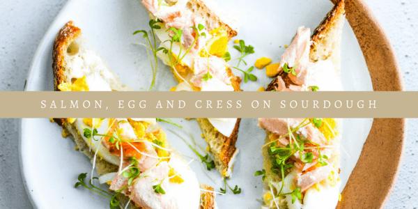 Salmon, Egg and cress on sourdough