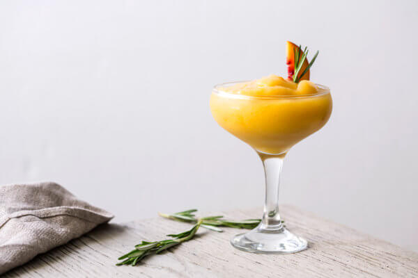 Frozen Peach and Rosemary Margarita