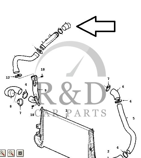 Hose intercooler Saab 9-3 SS / 9-5 2.2 Tid, 12790041