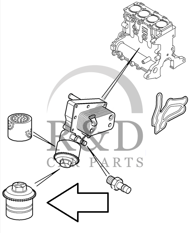 Cover oil filter Saab 9-3 / 9-5 Z19DT/Z19DTH, 93181615