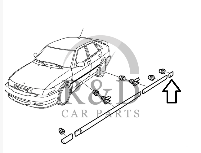 Decor strip RH rear Saab 900ng / 9-3 5-deurs, 5123377