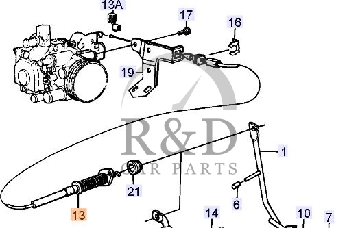 Throttle control cable Saab 9000, 4022737
