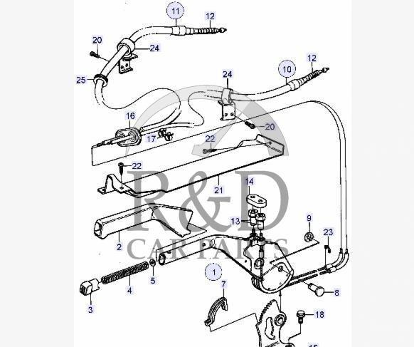 Parking Brake Cable RH Saab 9000, 8964363