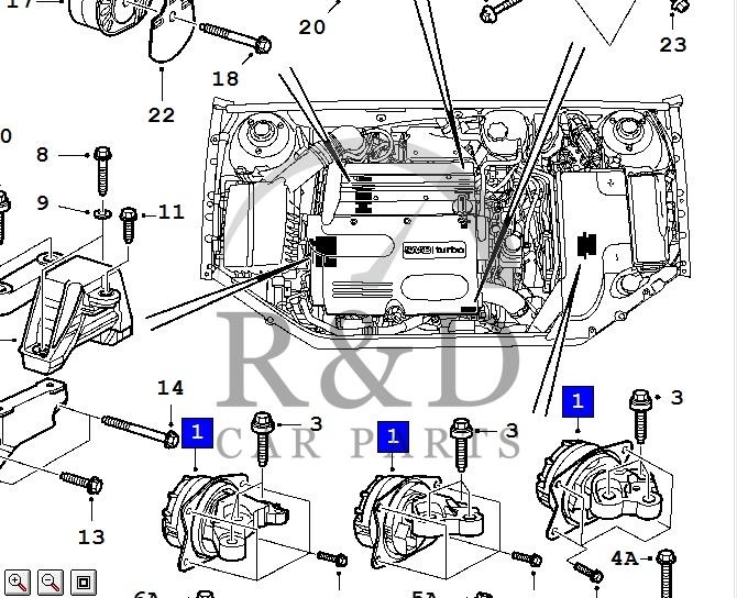 Motorsteun Saab 9-3SS, 13207586