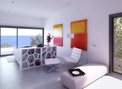 Infografia interior y decoracion de habitacion doble
