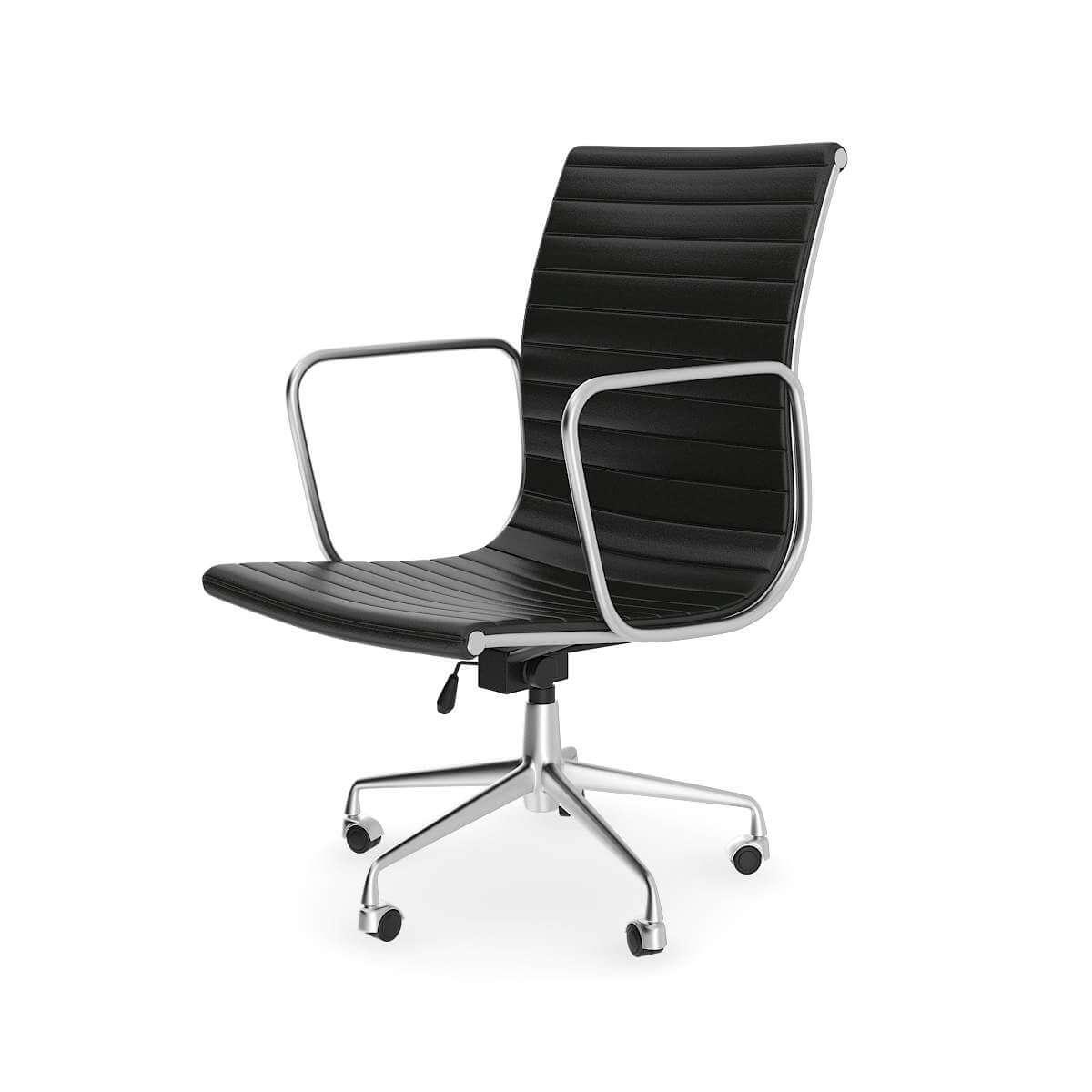 Black Leather Swivel Chair 3d Model