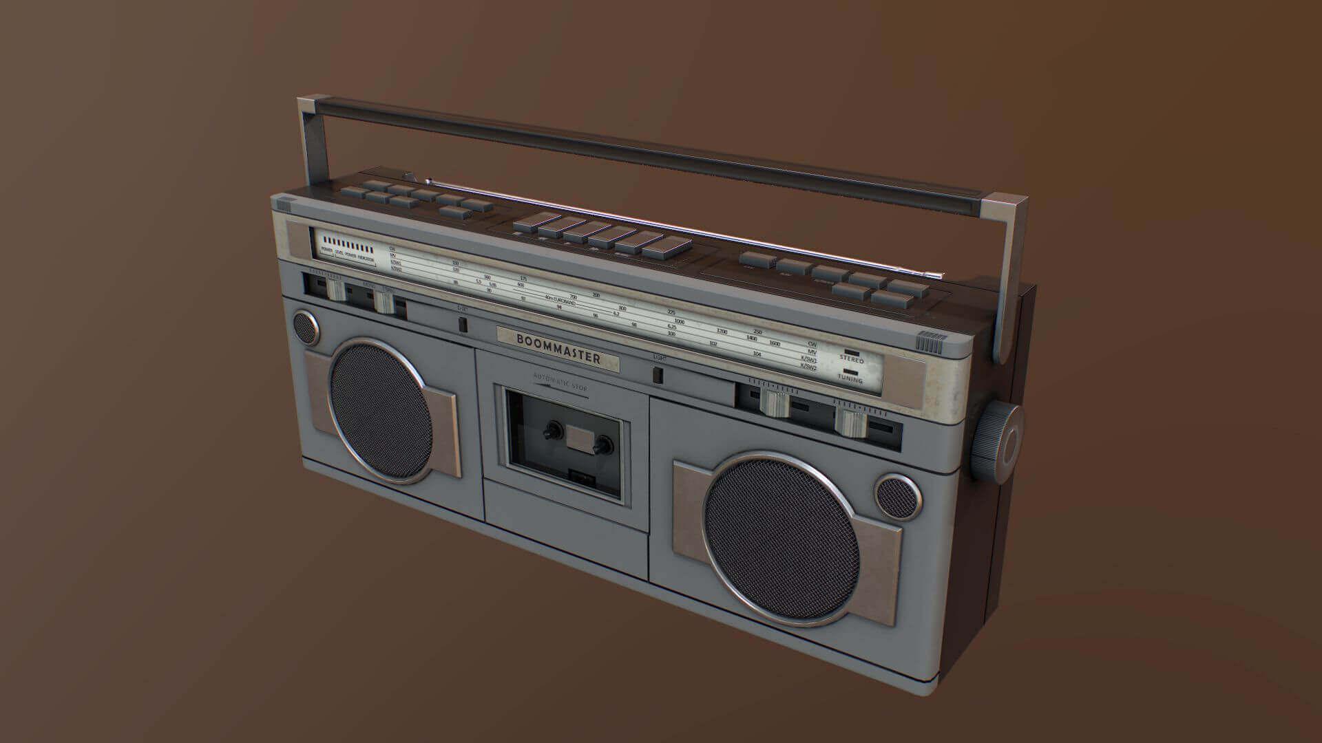 1980s boombox radio 3d