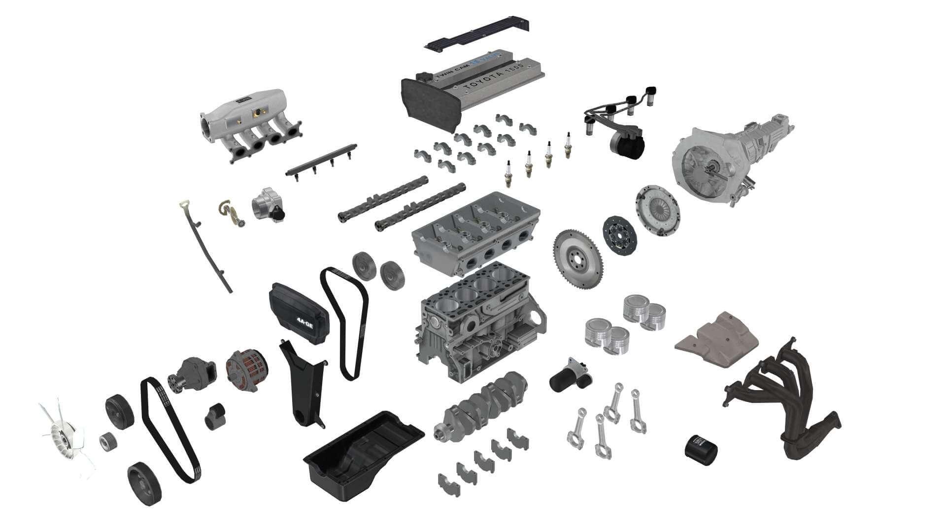 Toyota 4A-GE 16L Bluetop engine 3D Model