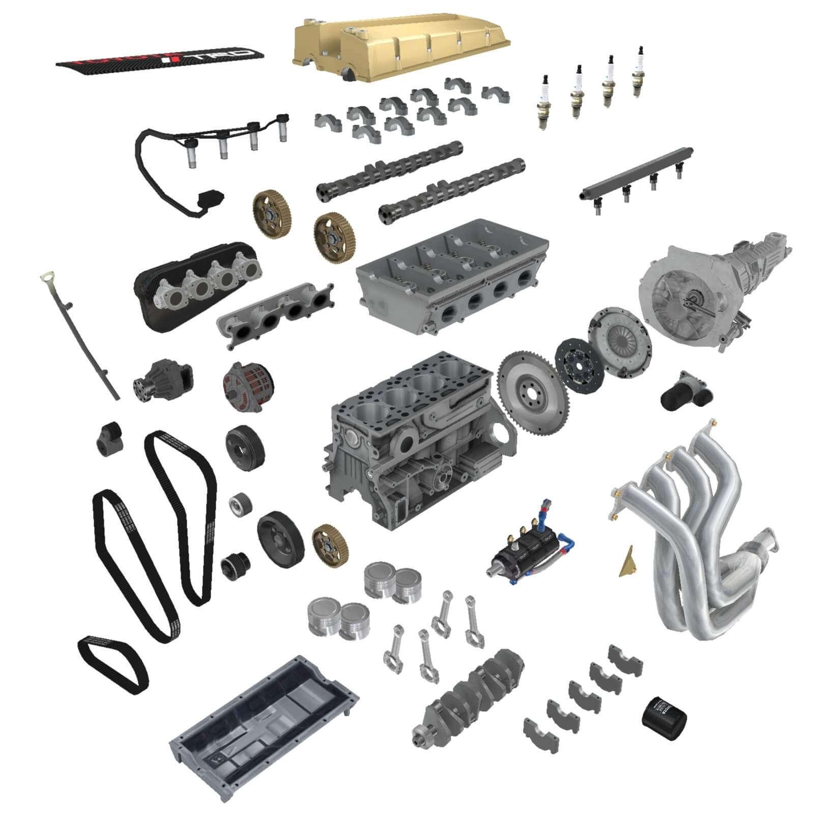 Toyota 4A-GE Formula Atlantic 16L Engine 3D Model
