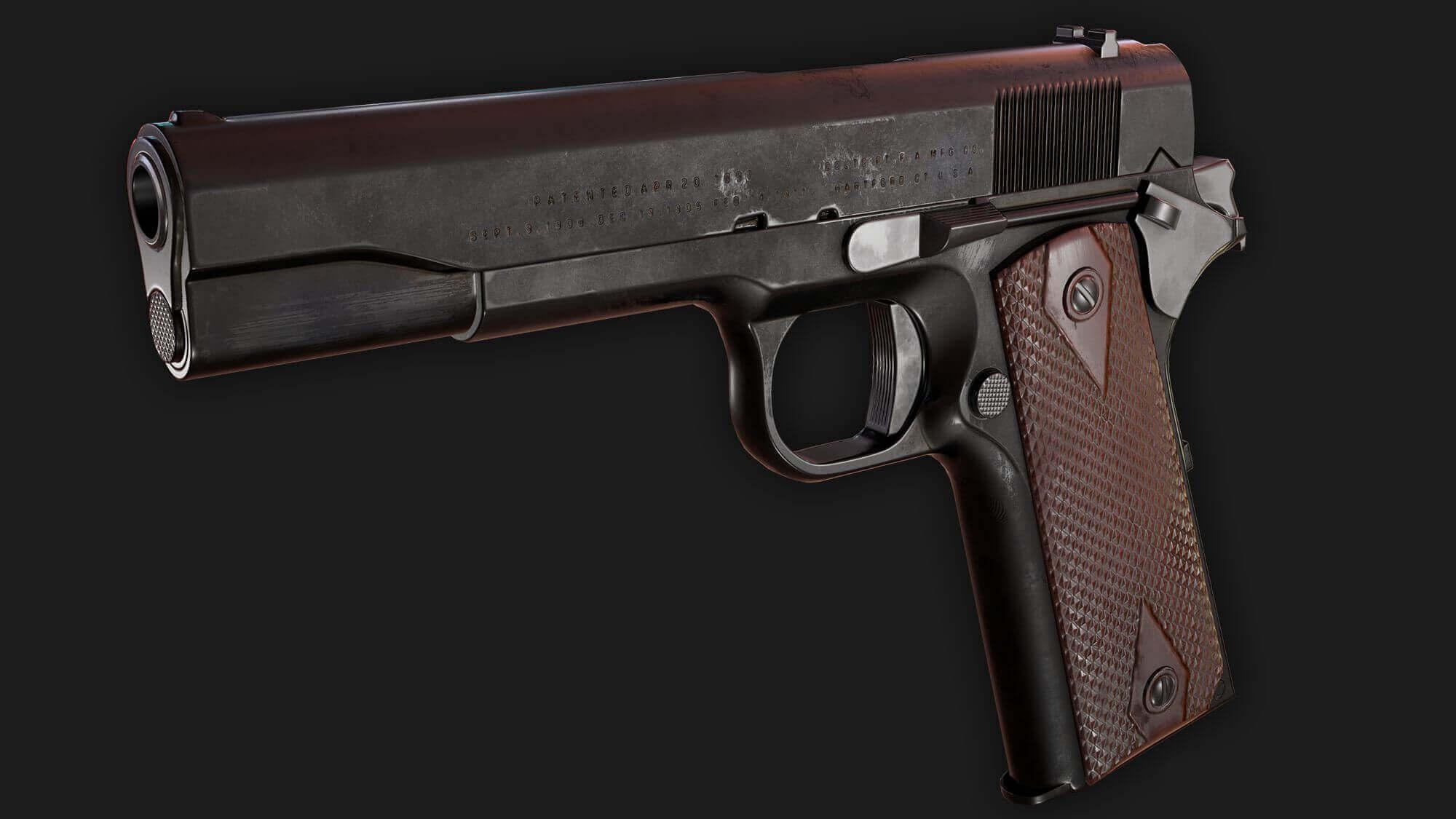 m1911 handgun 3d model
