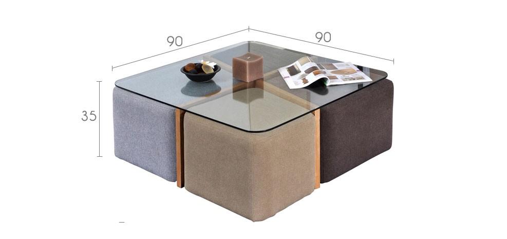 table basse terra 4 poufs