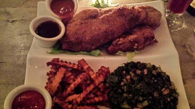 "Fried ""chicken"" with collard greens"