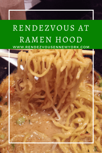 Ramen Hood at Che's Counter Club in NYC, Rendezvous En New York. Vegan ramen restaurant temprarily at the Chef's Counter Club until the end of January .