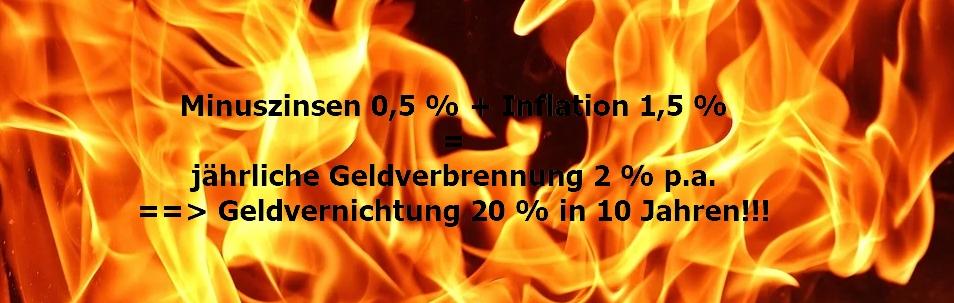 Geld verbrennen - Minuszinsen - Verwahrentgelte - stoppen Sie die Geldvernichtungsmaschine