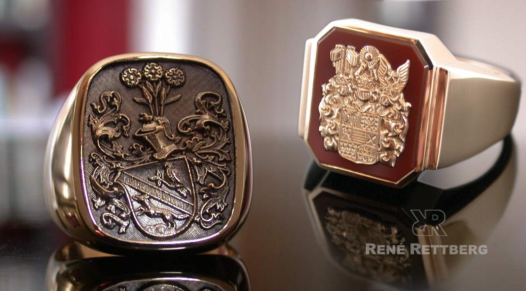 Wappenringe mit Reliefgravur  Hochwertige Siegelringe und