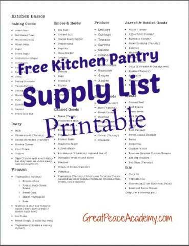 Kitchen Pantry supply list