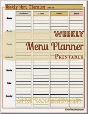 Weekly Menu Planner - Meal Planning Printables