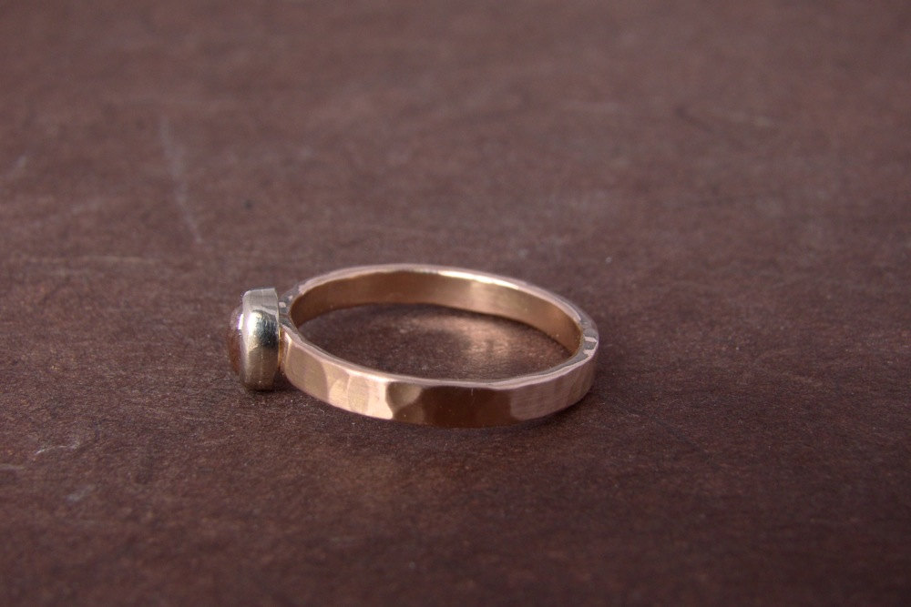 RESERVEDl Rose Gold Wedding Band Hammered Texture