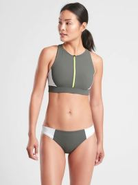 Athleta Colorblock Zip Front Bikini Top Product Image