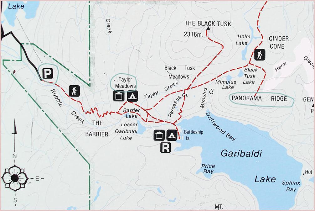 Panorama Ridge Map Garibaldi Provincial Park Backpacking Trip