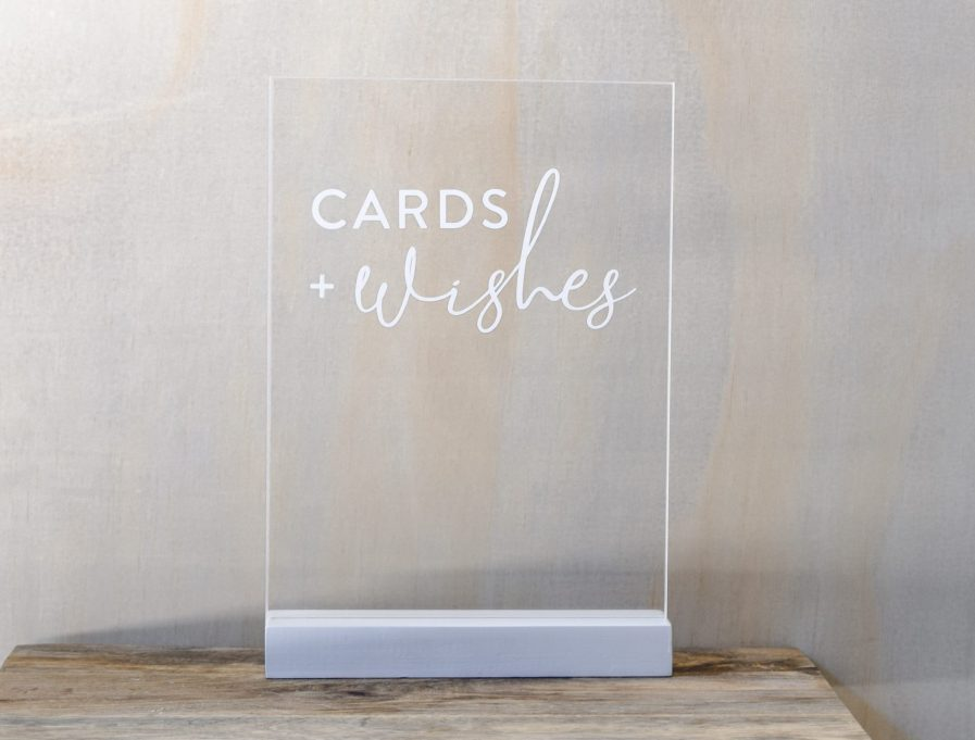 cards and wishes sign wedding