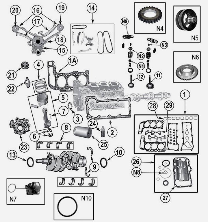 3,7 L 6 Zyl. V6 Motorteile für Jeep Grand Cherokee WH WK