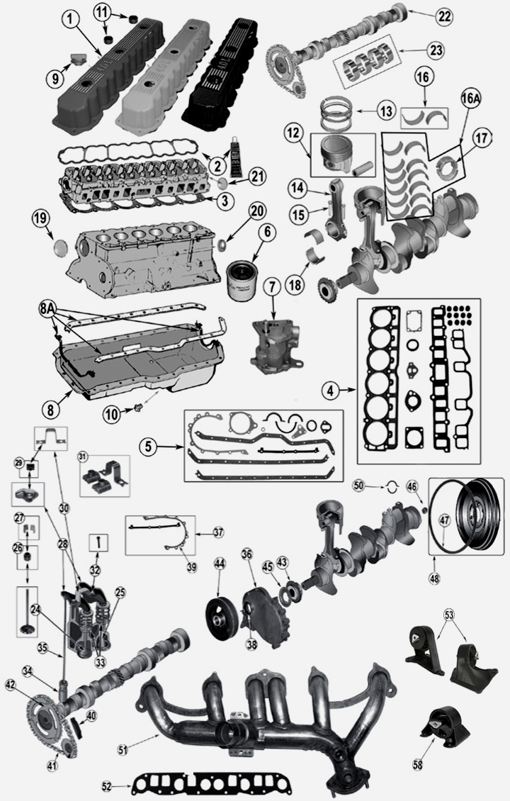 4,0 L 6 Cyl. engine parts for Jeep Grand Cherokee WJ / WG