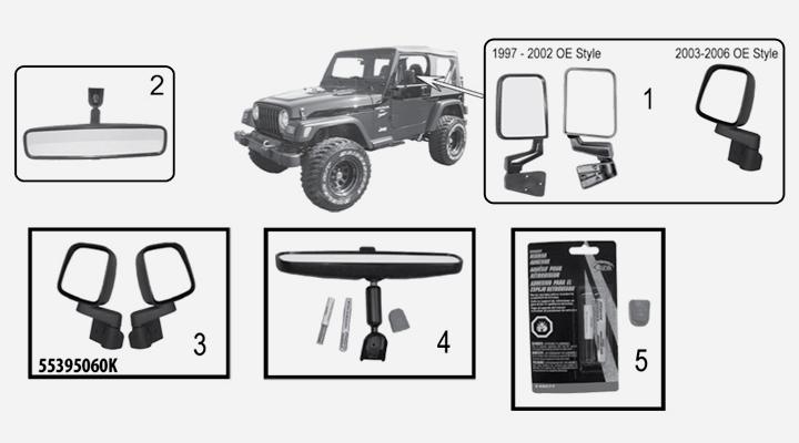Spiegel und Antennen für Jeep Wrangler TJ