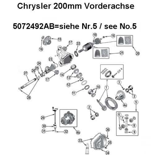Jeep Grand Cherokee WH WK Differential Set Standart vorne