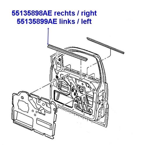 Jeep Grand Cherokee WJ Abstreifer Schachtleiste Tür vorne