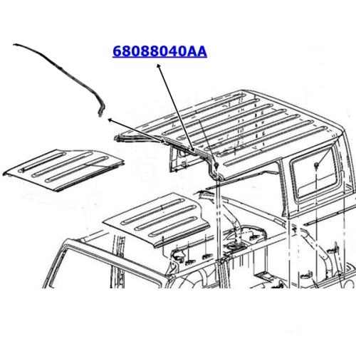 Jeep Wrangler JK 4türer Dichtung Hardtop zu den vorderen