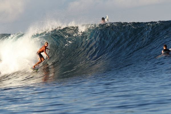 Maldives Surf Coaching with Mark Boyd getting barrelled
