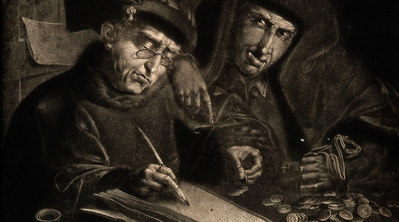 V0015823 Two Jews counting their money, the one writing the ledger we Credit: Wellcome Library, London. Wellcome Images images@wellcome.ac.uk http://wellcomeimages.org Two Jews counting their money, the one writing the ledger wears spectacles. Mezzotint after Q. Matsys. By: Quentin MetsysPublished:  -  Copyrighted work available under Creative Commons Attribution only licence CC BY 4.0 http://creativecommons.org/licenses/by/4.0/