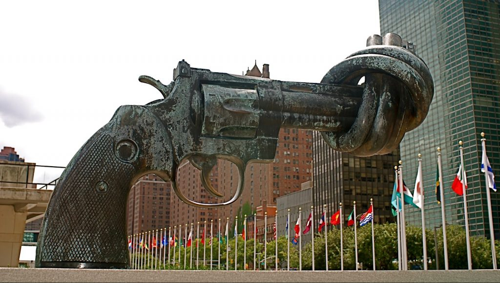 """""""Non-Violence"""" sculpture at the UN in NYC. When will the blue helmets disarm?"""