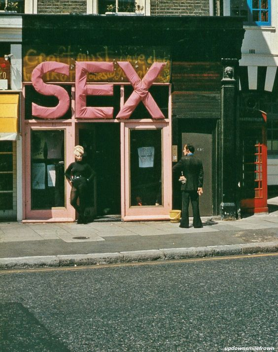 Vivienne Westwood and Malcolm McLaren's store SEX, King's Road, London (ca.1976) with Jordan (pictured) the 'sassy' sado sex clerk that would accommodate your purchase at the boutique.